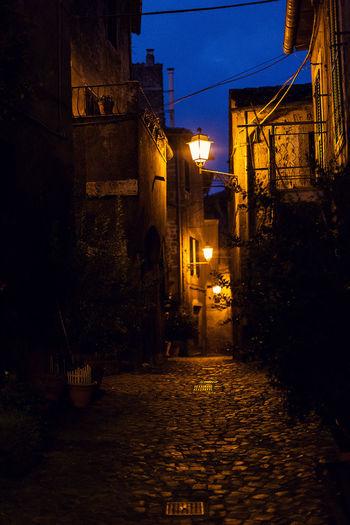 Calm Streets Evening Light Footpath Illuminated Little City Big Dreamer Narrow Night No People Old Buildings Streetlight Overnight Sucesses Overnight Success The Great Outdoors - 2018 EyeEm Awards