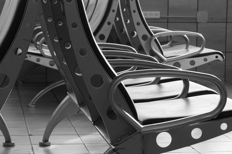 Waiting Room No People Metal Seat Indoors  Close-up Flooring Day Chair In A Row Still Life