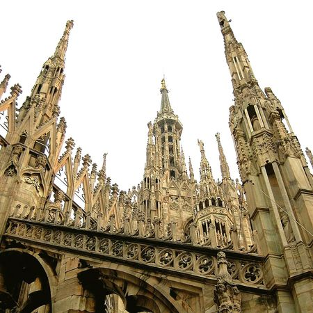Architecture Travel Destinations History Built Structure Low Angle View Ornate Building Exterior Tourism Gothic Style Religion Travel Sculpture Day Sky Outdoors Statue Clock Tower No People Ancient Civilization City Italy Milano Milan,Italy