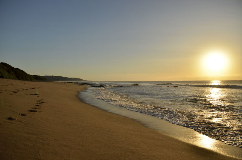 Beach Horizon Over Water Leerer Strand No People Pumula Beach Southafrica Sandstrand Southafrica Strand Sunrise Südafrika