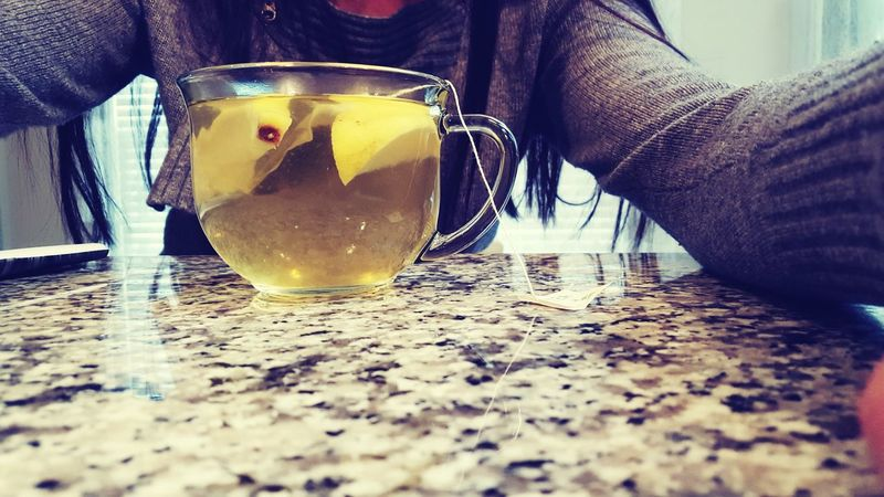 Green Tea Lemon Organic Good For The Heart Keeping Warm Rainy Days Sweater Weather :)