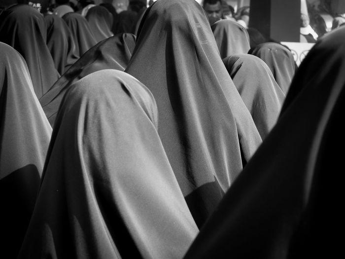 Rear view of women wearing hijab