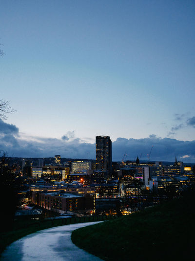 Serenity Calm Sky Cityscape City Architecture Nightfall Dusk United Kingdom Uk Sheffield Building Exterior Built Structure Cloud - Sky Nature Copy Space Building No People Industry Blue Outdoors Factory Water Day Mountain Transportation