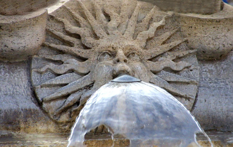 Rome Italy🇮🇹 Sun God Fountain Close-up Day Large Stone Fountain Nature No People Outdoors Stonework. Water Water Coming Out Of Mouth Moving Around Rome