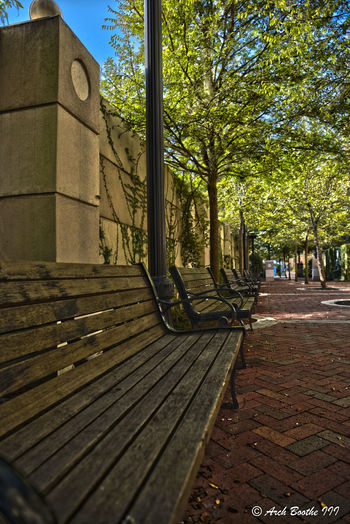 Lonely Bench Architecture Building Exterior Built Structure Day No People Outdoors Park, Park Bench, Place To Relax, Relaxing Peaceful, Seating, Walk, Walkway, Sidewalk, Bricks, Brick Walk, Shade Trees, Blue Sky, Blue Skies Shade Trees, Shade Tree, Place To Sit, Seat Shadow Sky Sunlight Tree