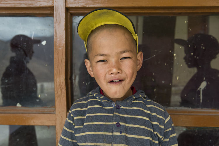 Close-up portrait of boy standing outdoors