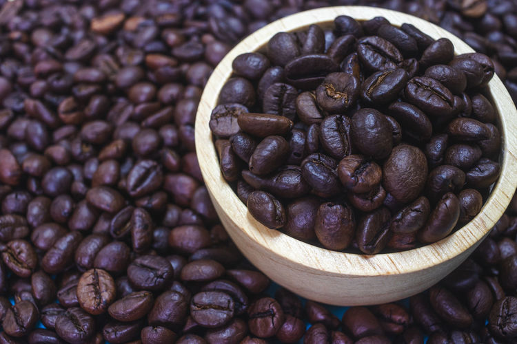 Food And Drink Roasted Coffee Bean Food Freshness Coffee - Drink Coffee Large Group Of Objects Still Life Abundance Brown Indoors  No People Close-up High Angle View Focus On Foreground Coffee Bean Caffeine Healthy Eating Container Roasted
