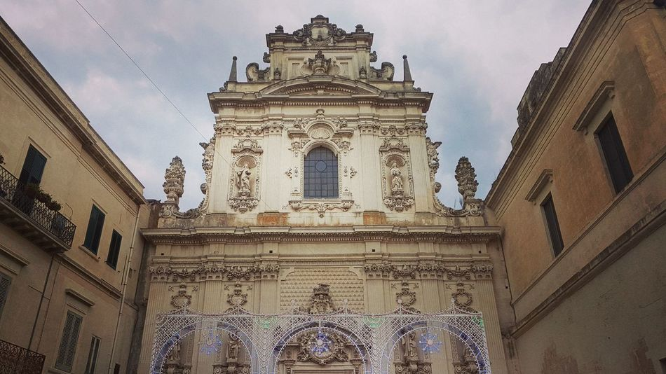 Architecture Low Angle View History Ornate Baroque Baroque Architecture Barocco Leccese Lecce Italy South Italy Salento Church