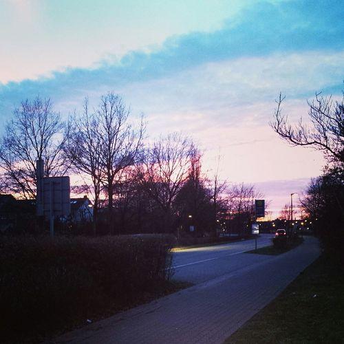 Sunset Sreet Evening Sky