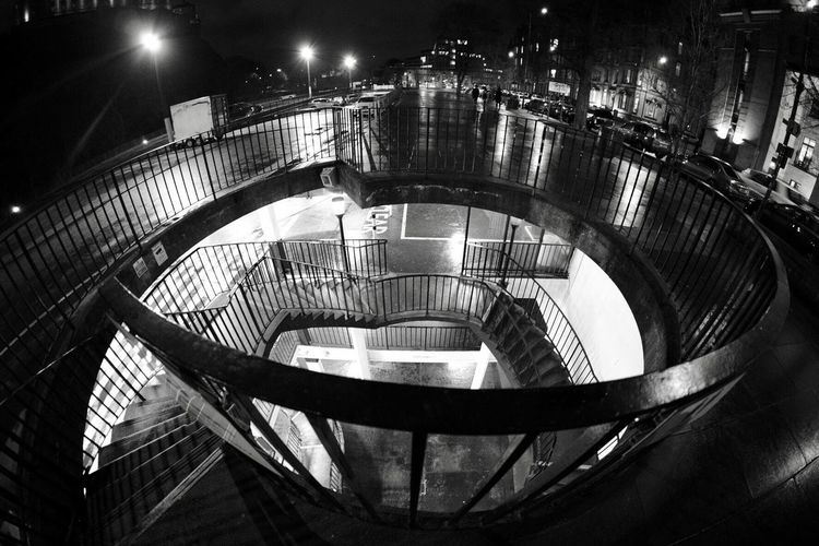Spiral staircase at night