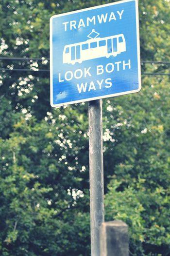 Warning Sign for Tram Tracks in Croydon. KDT1 NikonD3100