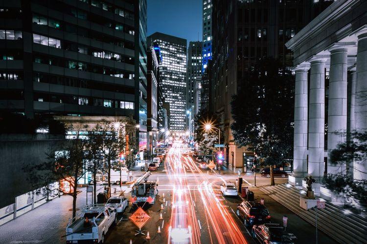 Light trail on city streets