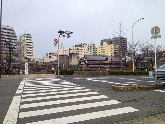 View of city street during rainy season