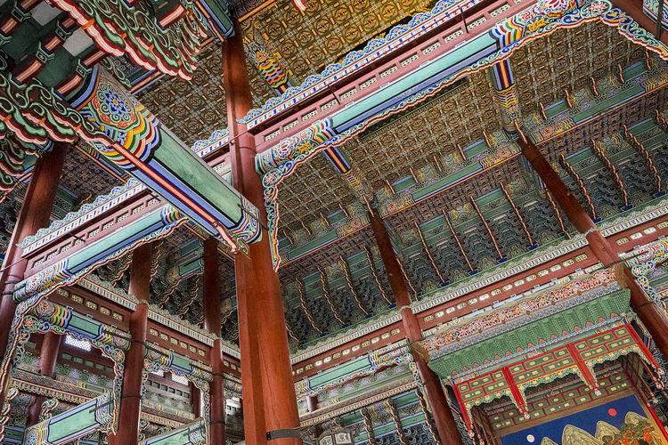 Ceiling Top Low Angle View Built Structure Architecture Place Of Worship Building Day Religion Building Exterior No People Pattern Spirituality Belief Roof Art And Craft Ceiling Multi Colored Outdoors Architectural Column Roof Beam Intricate Details Royal Palace Ceiling Ceiling Design Art Eastern Asia
