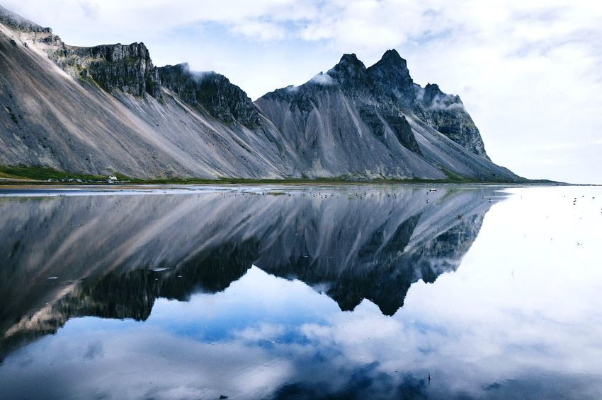 Epic mountains in Iceland. Nearly a perfect mirror. Naturegallery Nature Photography Naturelover Nature Photography Photography Outdoor Photography Outdoors Vesturhorn Vestmannaeyjar Beach Sea And Sky South Iceland Mirror Iceland EyeEm Selects Reflection Water Sky Mountain Beauty In Nature Lake Waterfront Cloud - Sky Scenics - Nature Non-urban Scene Nature Idyllic Mountain Range No People Day First Eyeem Photo