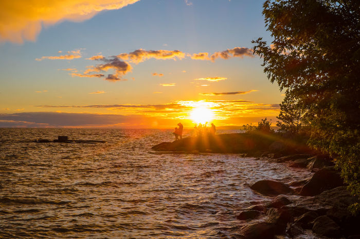 Beautiful sunset over Lake Nipissing. FUJIFILM X-T1 Lake Nipissing North Bay Ontario Beauty In Nature Holiday Horizon Over Water Idyllic Nature No People Orange Color Outdoors Scenics Sea Silhouette Sky Sun Sunlight Sunset Tranquil Scene Tranquility Water