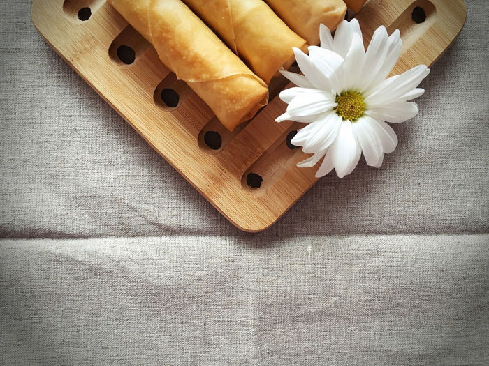 Copy Space Crispy Spring Roll Deep Fried  Flower Food High Angle View