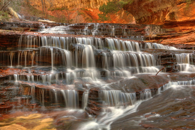 Hiking the Back Country. Utah Zion National Park Back Country Cascading Water Hiking Colorful Long Exposure Motion Water Rock Flowing Nature Power In Nature Falling Water