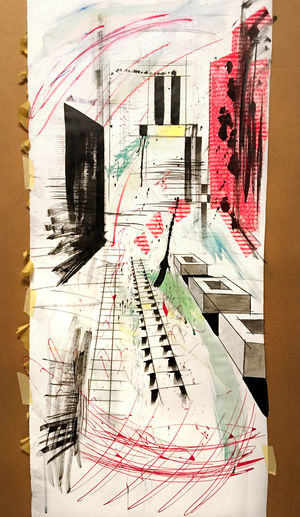 Abstract Architecture Art ArtWork Black, White & Red City Life Collage Construction Site Drawing Getting Creative Initial Draft Sketch Kiel Notes Paper View Perspective Rathausturm Sketch Skizze Splash Urban Geometry