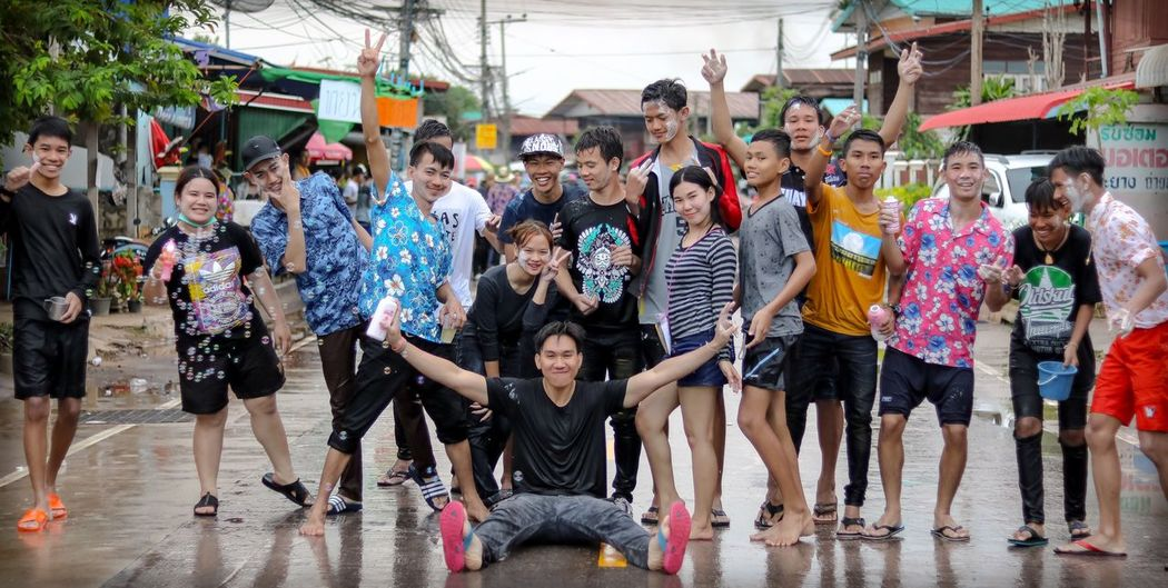 """Ending a long holiday in Thailand. """"Songkran festival' 2017"""" Go back to work again 😅😅😭😭🎉🎉 Large Group Of People Crowd Men Fun Real People Vitality Lifestyles People Women Togetherness Adult Adults Only Sport Full Length Day Encouragement Outdoors Young Adult Thailand Songkran Festival Songkran Thailand"""