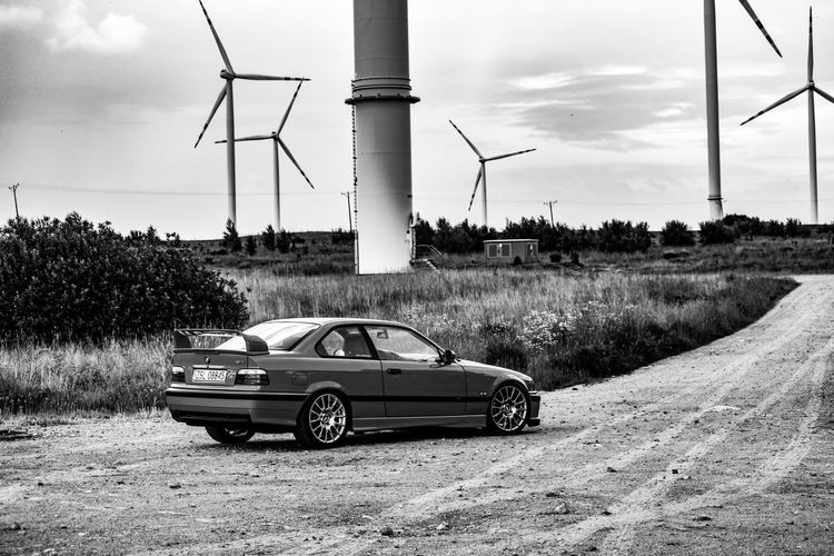 Blackandwhite Bmw E36M3 BMW M3 Windmills Vehicle Country Road Power Supply EyeEmNewHere