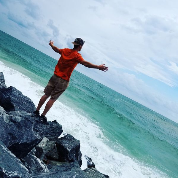 Cape San Blas, Florida Cloud - Sky Full Length One Person Jumping Motion Vitality Mid-air People Leisure Activity Stunt Sky Outdoors Adults Only Sport One Man Only Day Sand Sea Only Men Vacations Forgottencoast