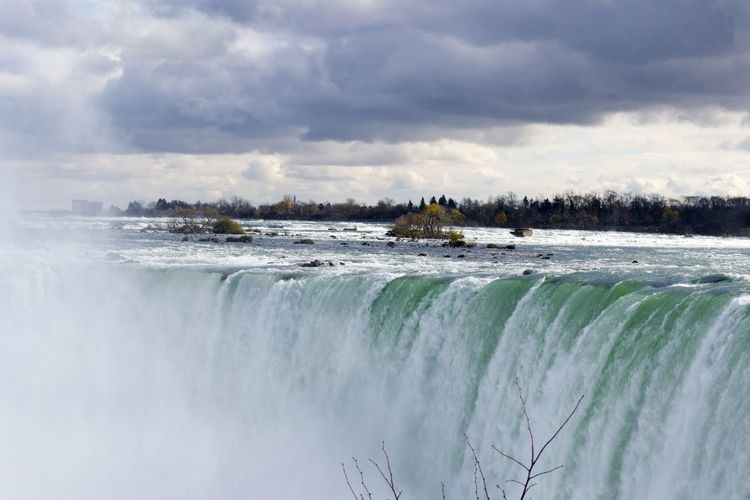 Scenic View Of Niagara Falls Against Cloudy Sky