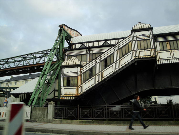 cable railway Wuppertal Architecture Bridge - Man Made Structure Building Exterior Built Structure Cable Railway Cloud - Sky Day Full Length Low Angle View Men One Person Outdoors People Real People Sky Wuppertal