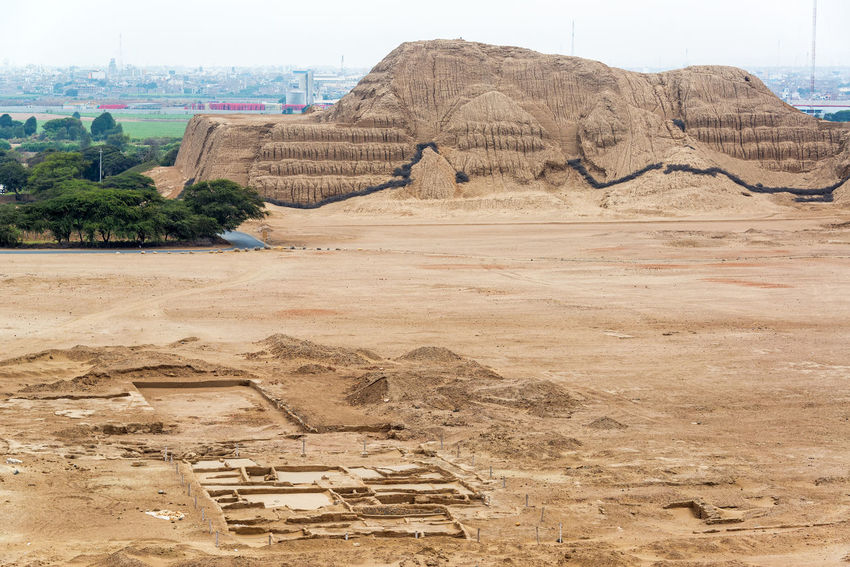 View of the ancient pyramid known as the Huaca del Sol in Trujillo, Peru Adobe Ancient Ancient Architecture Ancient Civilization Ancient Ruins Architecture Built Structure Day Huaca De La Luna Huaca Del So Huacas Landmark Moche Mochica No People Peru Peruvian Pyramid Pyramid Ruins Temple Tourism Travel Travel Destinations Trujillo