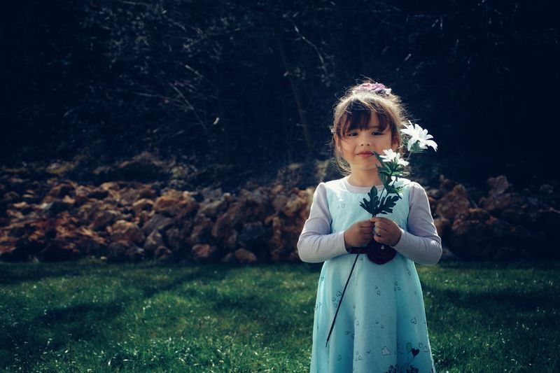 Portrait of girl holding flower while standing in lawn