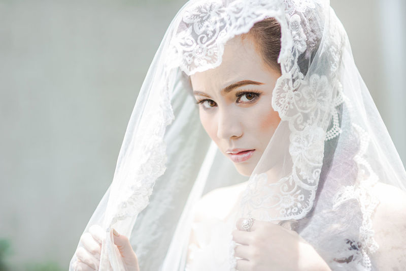 Close-up portrait of bride