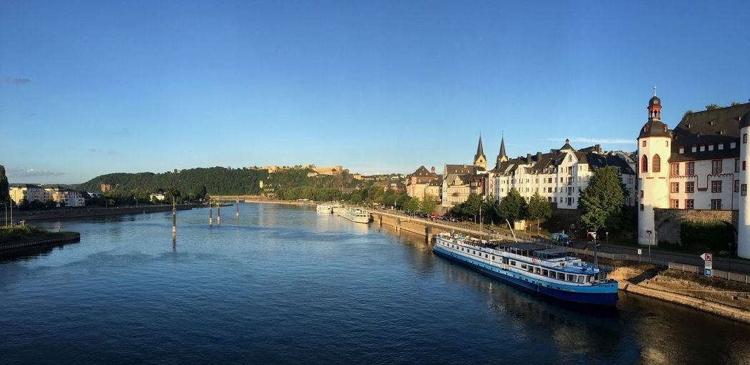 Looking down the river - Walking Around Sommer Summer Urban Exploration Riverside Evening Blue Sky Rhine Moselle Koblenz Germany