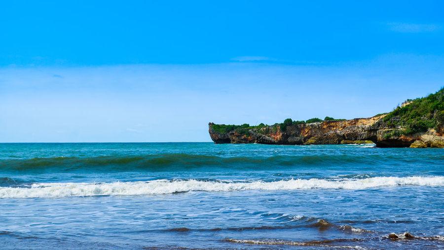Beach is blue.