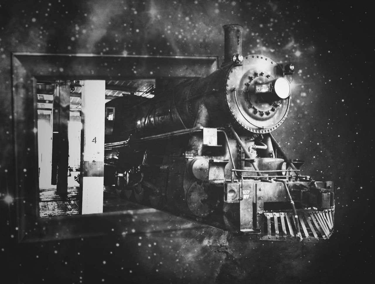 no people, old-fashioned, locomotive, night, steam train, outdoors, close-up, film industry