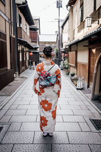 Kimono Girl Kyoto Japan Streetphotography Kimono City Rear View Sidewalk Street Alley Residential Structure Old Town Lane