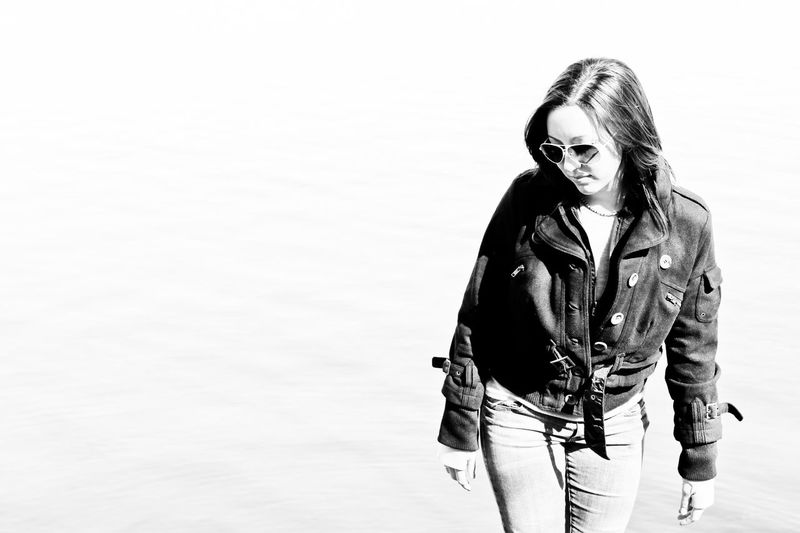 Aviators Black And White Casual Clothing Contrast Day Exploring Front View Jacket Lake Leisure Activity Lifestyles Outdoors Tailored To You Portrait Standing Sunglasses Wandering