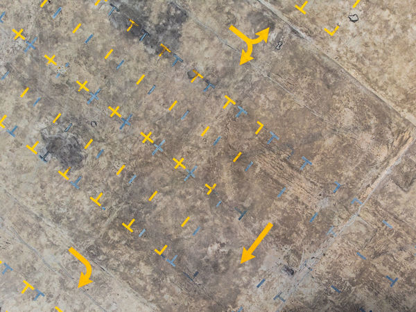 Aerial view of building roof empty parking lot Bird Eyes View Parking Lot Sign Abstract Aerial View Architecture Backgrounds Close-up Concrete Copy Space Day Directly Above Full Frame Gray High Angle View Nature No People Outdoors Pattern Road Rough Solid Textured  Wall - Building Feature Yellow