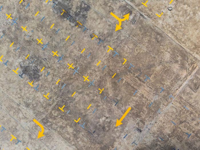 Aerial view of road markings