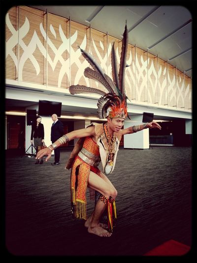 APTHAT 2013 in Kuching, Sarawak Borneo. An Iban Warrior poses at the Borneo Convention Center Kuching. APTHAT APTHAT2013 Sarawak Kuching