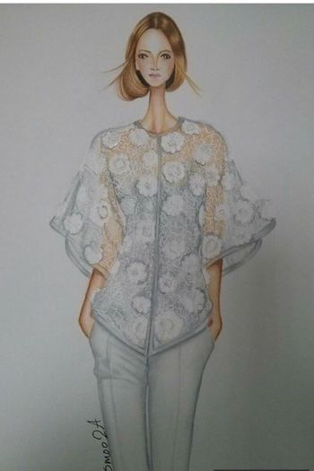 Fashion&love&beauty Fashion Illustration White Flower Marker Rendering Standing Portrait Studio Shot Three Quarter Length Blond Hair One Woman Only Young Adult Real People White Background One Young Woman Only Beautiful Woman Young Women Beauty Only Women People Indoors