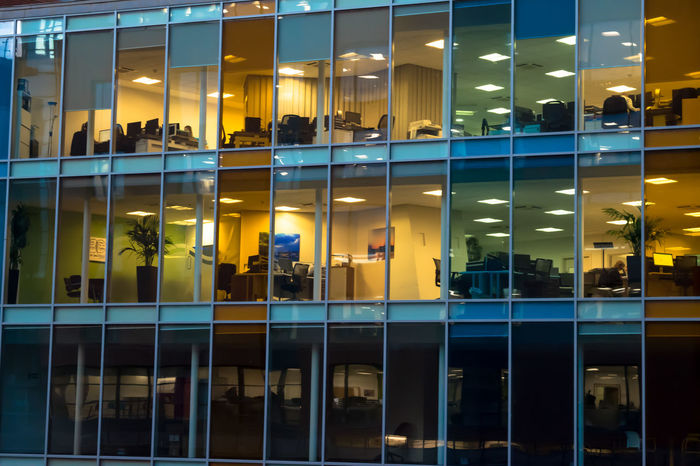 The transparent office 5pm Boring Business Chair City Life Colour End Of The Day Flooring Glass Glass - Material Glazine Glazing Indoors  Job Lamp Light Modern Office People People Sitting Transparent Urban Window Work