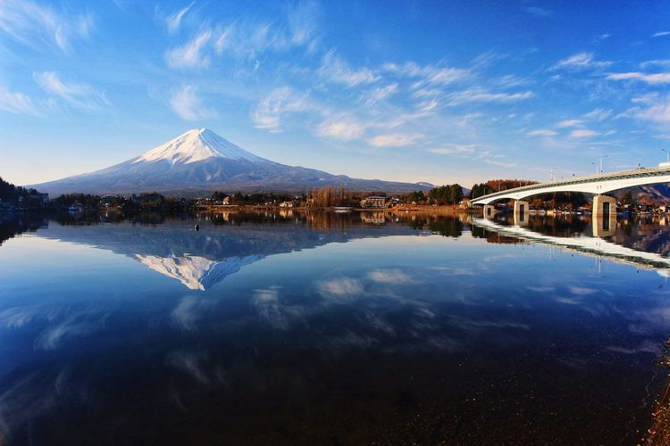 Lake Mt.Fuji Japan Japannature Japantravel Reflection Snow Cold Temperature Lake Blue Sky Landscape Standing Water Mountain Range Waterfront Snowcapped Mountain Peak Tranquil Scene Mountain Ridge Snowcapped Mountain