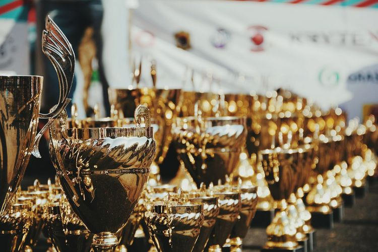 Close-up of awards