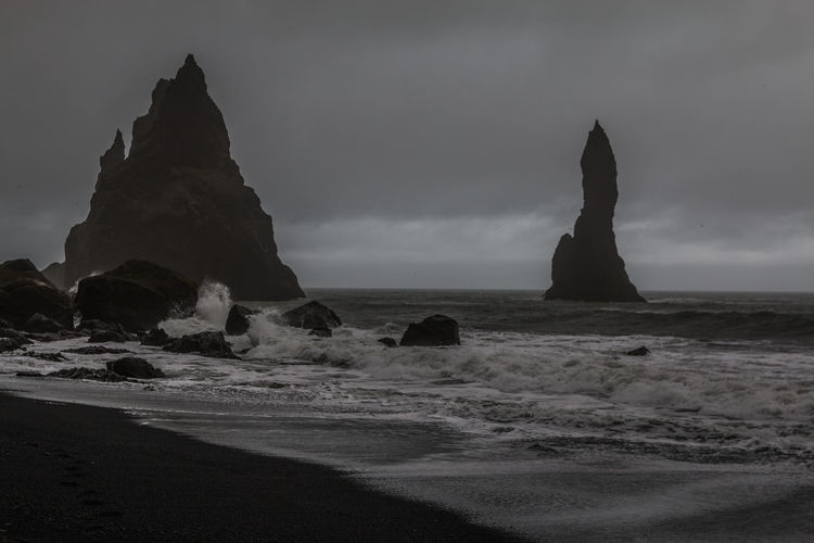 Nice Vik Black beach Iceland Black Beach Iceland Land Sea Sky Rock Beauty In Nature Water Rock - Object Beach Scenics - Nature Solid Rock Formation Tranquil Scene Tranquility Motion Nature No People Non-urban Scene Wave Horizon Over Water Outdoors Stack Rock Power In Nature
