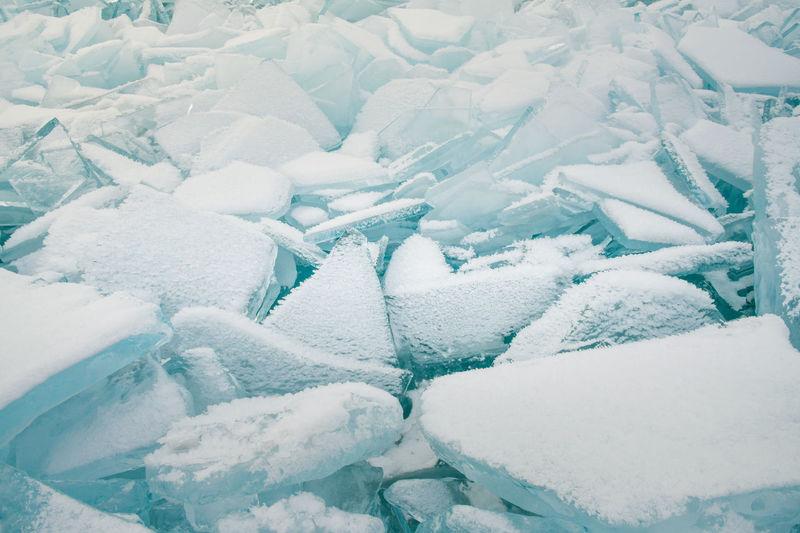 Full frame shot of snow covered ice