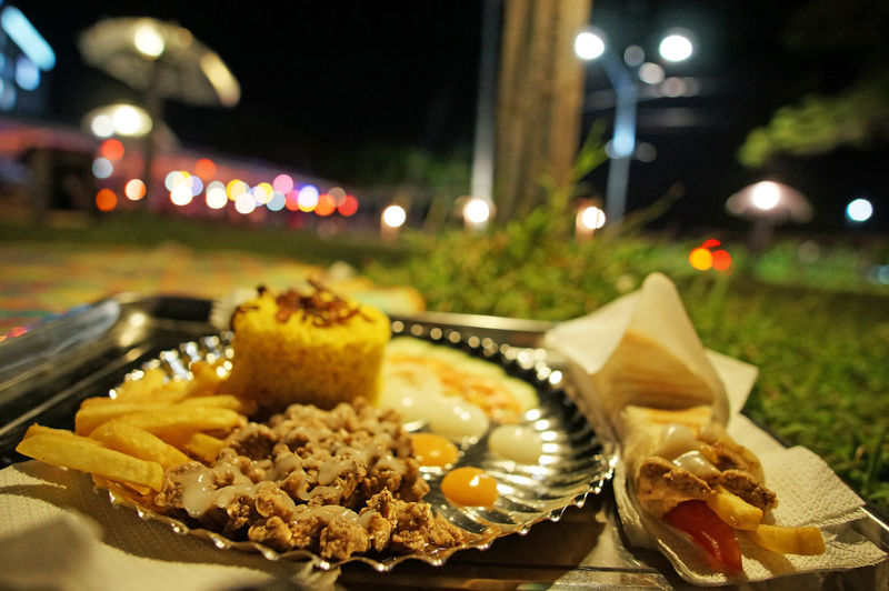 Food Plate Close-up Meat Road Side Filipino Food Philippines Food Park Food Bazaar Outdoors Nightlife French Fries