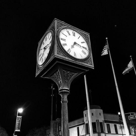 Low Angle View Night Clock Time Illuminated Communication No People