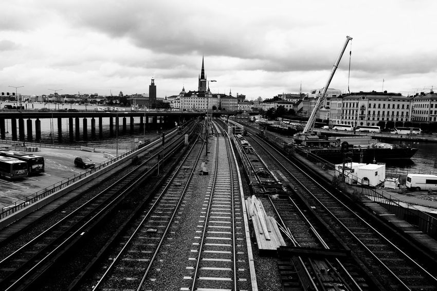 Stockholm railroads Railroad Track Rail Transportation Cityscape Architecture City Train - Vehicle Stockholm B&W Collection B&w Rx100mk2 Mode Of Transport B&W Magic Outdoors Railroad Station