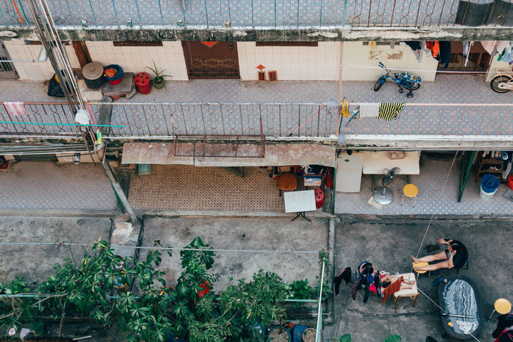 High Angle View Of Residential Building In City