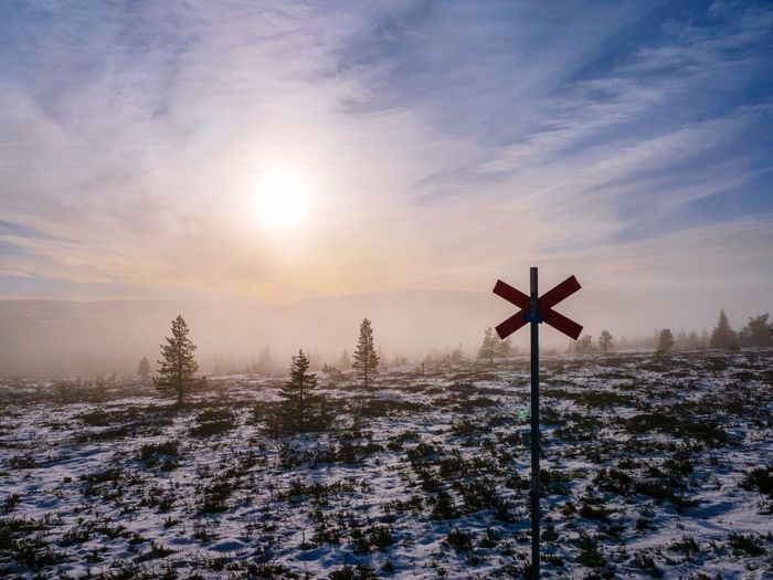 Trail in the Mist Mystical Atmosphere Solitude Scandinavia Sälen Sweden Hiking Trail Hiking Snow Sky Cold Temperature Winter Nature Environment Beauty In Nature Scenics - Nature No People Cross Landscape Tranquility Sunlight